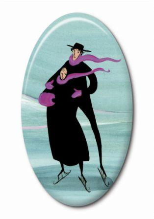 Skating couple, oval porcelain insert for gold colored jewelry surround designed by P Buckley Moss. Teal background with iconic skaters dressed in black coats. i