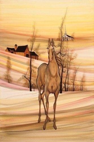 Full length view of a rust colored horse with background mountain setting. Rolling landscape with hills and barn in the background. Autumn colors of shards of peach, coral and rust.