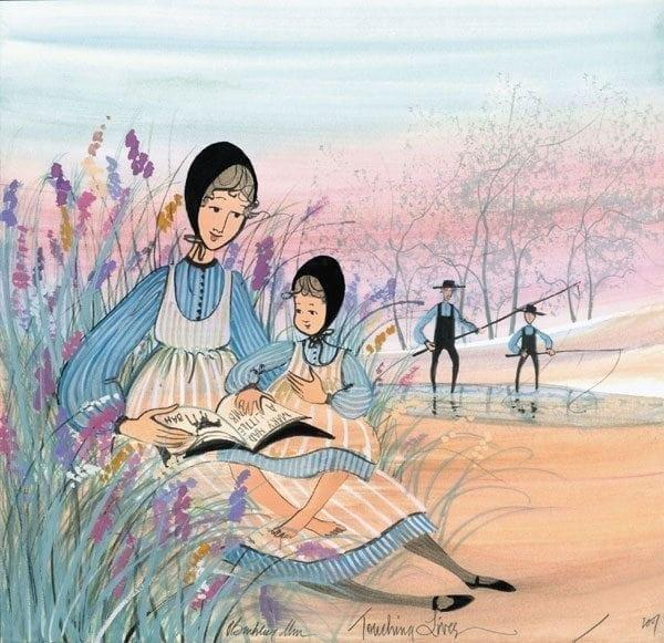 Touching Lives limited edition by P Buckley Moss features a mother and a daughter enjoying the contents of a special book. Sitting in a garden of flowers while two other male figures enjoy fishing is a small stream.
