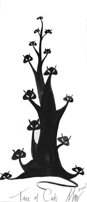 Original watercolor painting by P Buckley Moss featuring a tall tree of Moss black cats. All the cats are black with negative white space for eyes.