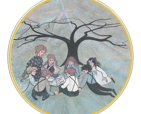 Tree of Learning limited edition by P Buckley Moss features a group of children sitting under a tree being read to by a mother or teacher.