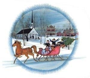 Christmas-Art-Artist-PBuckleyMoss-CanadaGooseGallery-WaynesvilleOhio-LimitedEdition-Print-HomeDecor-Decorating-Christmas-Sleigh-Horse-Christmas-Church-Winter-Snow