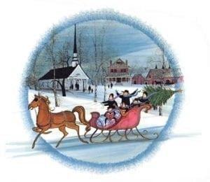 Christmas-Art-Artist-PBuckleyMoss-CanadaGooseGallery-WaynesvilleOhio-LimitedEdition-Print-HomeDecor-Decorating-Christmas-Sleigh-Horse-Christmas-Church-Winter-Snow