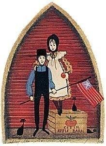 American Apples by P Buckley Moss features two children with American flag in colors of red and gold accents.