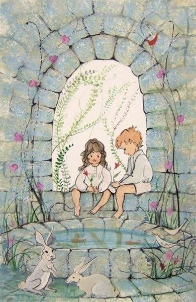 Angels In My Garden limited edition print by P Buckley Moss features small boy and girl by a stone wall and pond as playful bunnies gather to join the fun.