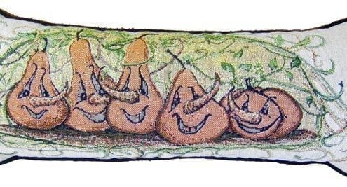Autumn Pumpkin tapestry pillow from P Buckley Moss artwork. Frolicing pumpkins in a background of leaves and vines.