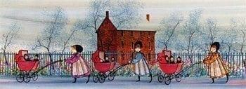 Baby Parade limited edition print by P Buckley Moss is a colorful print with girls in rose and blue dresses red baby buggies, a rust colored brink house and shades of blue and cream in the background sky.