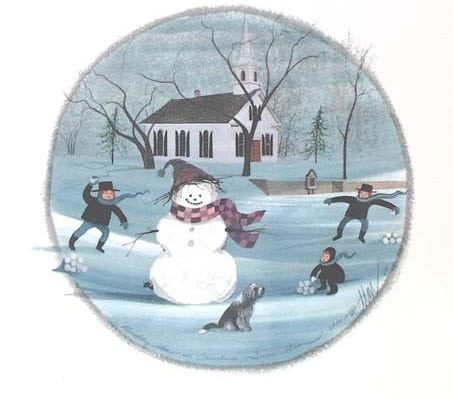 Waynesville-Ohio-PBuckleyMoss-Ornament-LimitedEdition-Art-Snowman-Winter