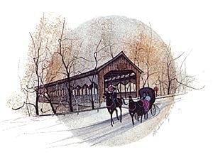 Corwin-Nixon Bridge as P Buckley Moss portrays this landmark with brush, paint and paper.