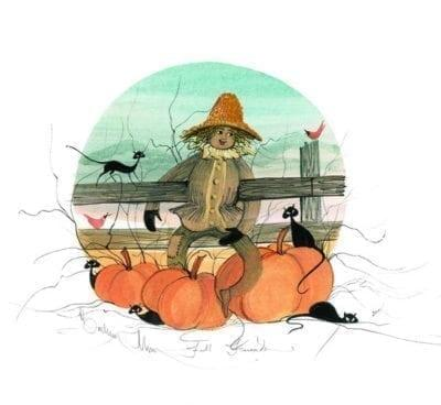 Fall Friends artist proof Print by P Buckley Moss with scarecrow, pumpkins and black cats.