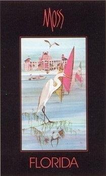 Florida poster by P Buckley Moss featuring egret in foreground, the St Petersburg shore and sailboats. Colors of rose, blues and white.