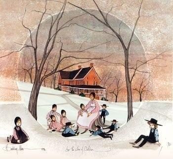 For the Love of Children is a rare limited edition print by P Buckley Moss featuring a mother or teacher with children in the foreground in shades of peach, light rust, blues, grays and black.