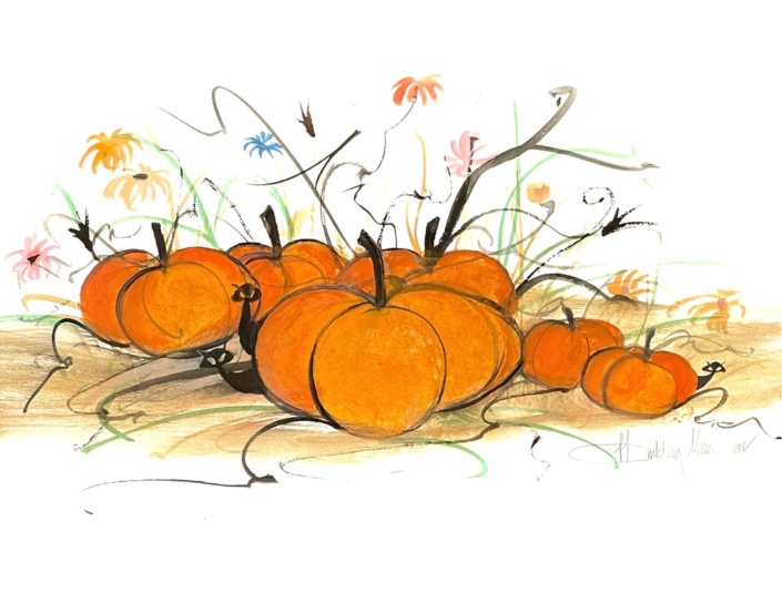 p-buckley-moss-hangin-in-the-pumpkin-patch-painting