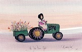 John Deere Girl limited edition print by P Buckley Moss features a young girl on a John Deere tractor with cart. Green, lavender, peach and pink.