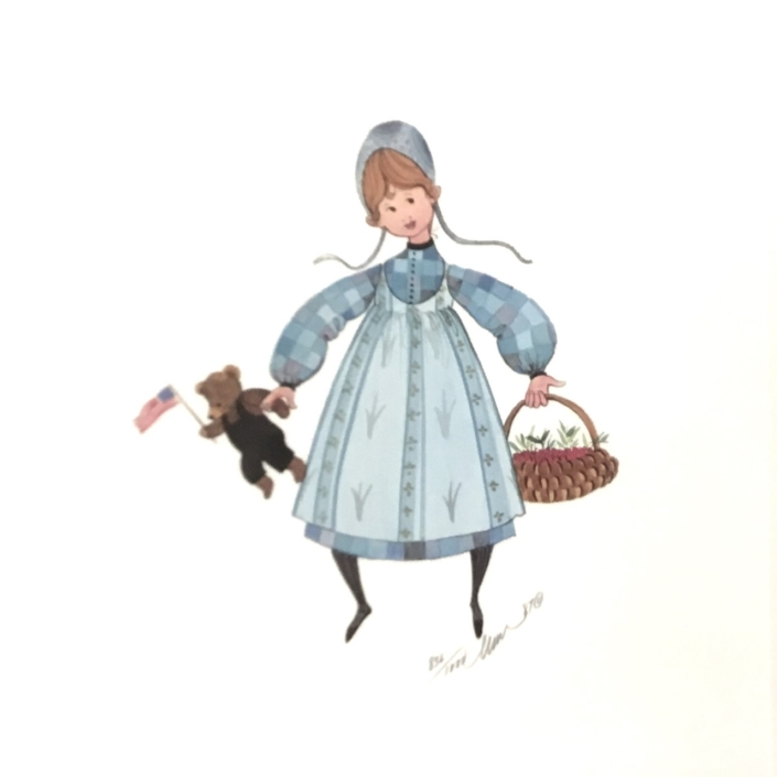 Kirstin limited edition print by P Buckley Moss featuring a girl with basket and teddy bear in colors of blue and white.