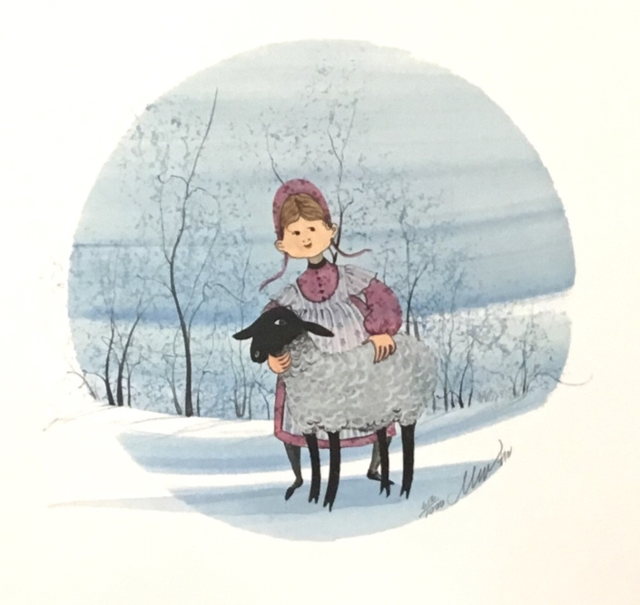 Laura's Lamb liited edition print by P Buckley Moss features a young girl with her lamb. Rose colored dress. black and white lamb on a background of shades of lighter blues with black trees.