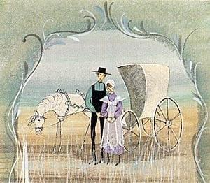 Love Blossoms limited edition print features a white horse and buggy with a couple standing by. Image by P Buckley Moss.