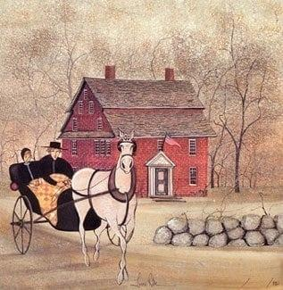 Lover's Ride limited edition print features a couple in a horse drawn buggy with Wayside Inn in the background. Wooded area with a stone wall in the foreground.