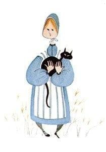 Mary and Magnolia is a rare, vintage, mint condition print from the early 1970's. Much loved Valley Style of painting performed by artist P Buckley Moss. Delicate features and hands. Colors of blue, white and black for the cat.