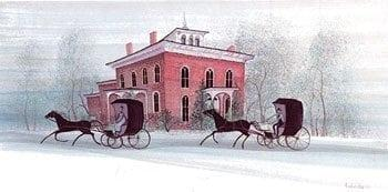 Ohio Heritage print by P Buckley Moss features the Stengel-True Museum, once the home of Judge Ozias Bowen, located in Marion, Ohio.