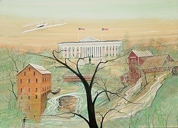 Print features Dayton Ohio Courthouse, Clifton Mill, Lanterman's Mill in Mill Creek Park, Youngstown, Ohio and the Wright Brother's Flyer.