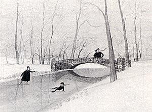 Very rare mint condition print of historic Snyder Park Bridge in Springfield Ohio