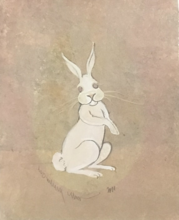 Original Watercolor Painting by P Buckley Moss featuring a white bunny in a background of neutrals, a splash of pink with tans.