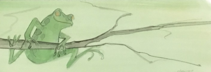 Original artwork Watercolor painting by P Buckley Moss featuring a green frog gracefully hanging from a branch. Shades of light lime green in the background with darker lime green on the frog Branches light tan and earth tones.