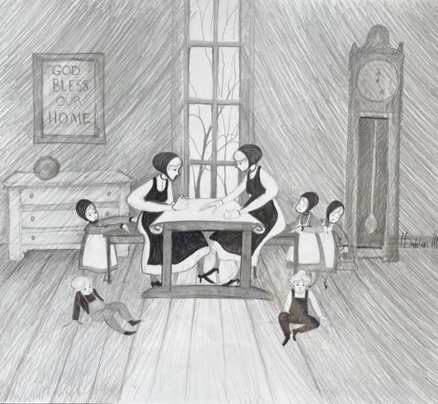 P Buckley Moss original sketch of quilting ladies and children playing.