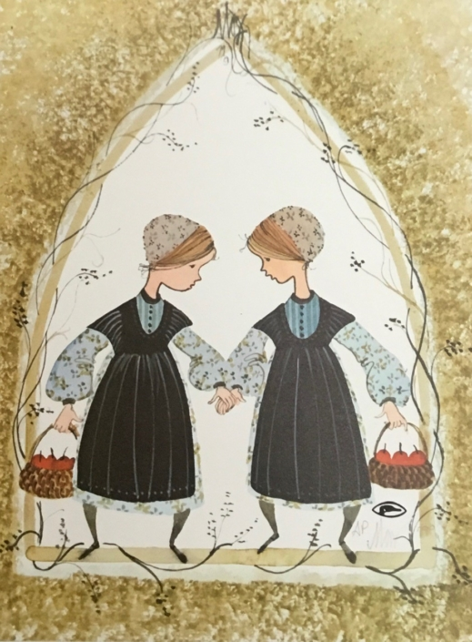 Two Little Hands vintage limited edition print by P Buckley Moss.
