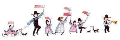 The Parade limited edition print by P Buckley Moss is one of the early, sought after pieces of her art that is becoming so scarce. Children happily forming a parade and waving flags.