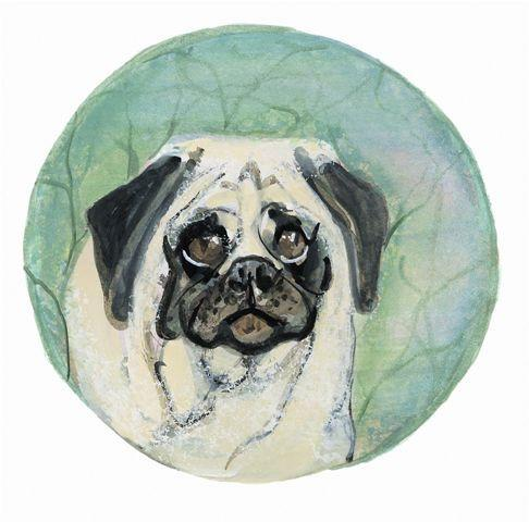 Pug, limited edition print by P Buckley Moss features a pug dog in whites, grays and blacks on a background of greens and tan.