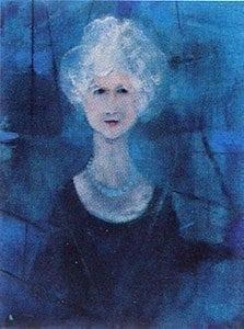 "Queen ""B"" limited edition print by P Buckley Moss is a portrait of her mother in deep colors and many varying shades of blue and black with a very modern looking line drawing as a background. White hair and peachy cream skin. Very sophisticated looking mother."