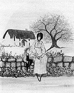 Reading is a rare limited edition by P Buckley Moss featuring a small child listening to a story being read to him. Cottage in the background and mother and child sitting on a stone wall.