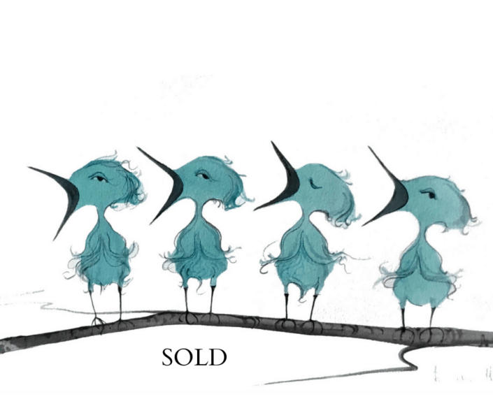 Four Fledglings original watercolor painting by P Buckley Moss exclusively available at Canada Goose Gallery in Waynesville, Ohio. Extraordinarily rich and vibrant aqua blue in each of the four birds with black, gray and earth tones in the beaks and branch where they perch.