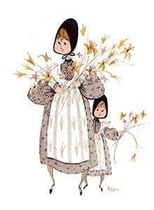 Spring Bouquet very rare limited edition print by P Buckley Moss features a mother or sister with a small child beside her. Colors are neutrals with white and a splash or yellow for flowers and whites.