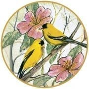 Spring Friends porcelain ornament features two yellow birds amongst pink blossoms and leaves.