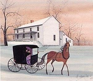 Stagecoach Stop by P Buckley Moss is a printed edition depicting the Holloway-Brown House in Waynesville, Ohio. Early Inn and Tavern.