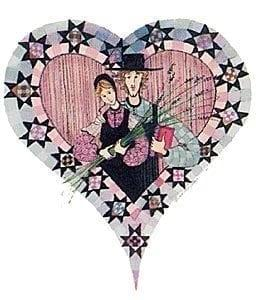 Stars of Love rare, signed and numbered, limited edition print by P Buckley Moss features a couple in love inside a decorative heart with quilted stars around the heart.
