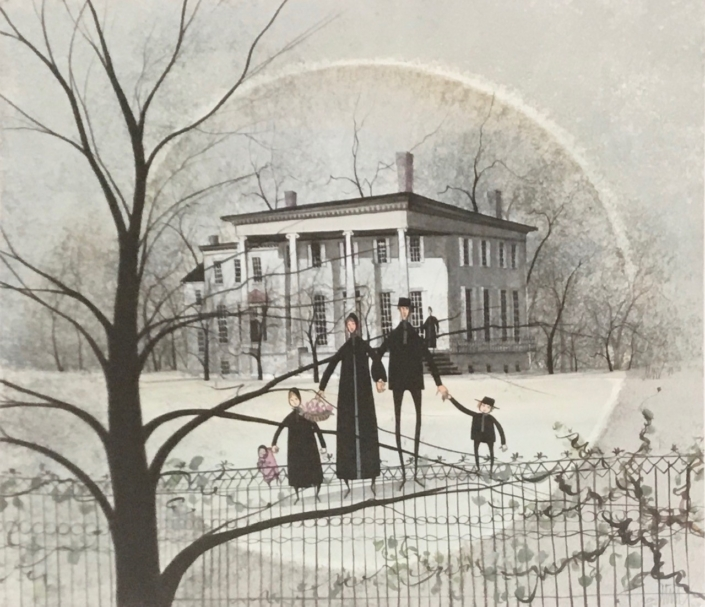 Kinsman House limited edition print print by P Buckley Moss features the Historic mansion in Trumbull County, Ohio and thought to be part of the underground railroad. Soft colors of grays and greens with highlights of blacks in the trees.