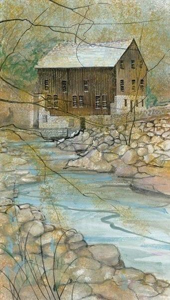 The Mill limited edition print by P Buckley Moss is rural America at its best. Colors of tans, browns, gray and white with a splash of blue and turquoise shades for the water,