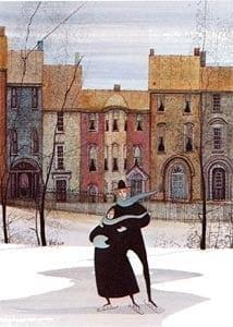 Together in the Park rare limited edition print by P Buckley Moss features row houses in background of Moss iconic skaters in black coats. Colors of rusts, browns and earth tones.