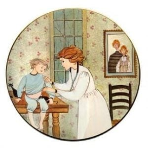 Visiting Nurse limited edition porcelain art ornament features a nurse responding to a child's needs. Different shades of aqua, creams and rose.