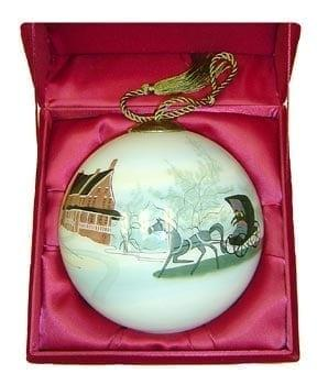 Winter Journey is a limited edition Christmas Ornaments Glass ball ornament which has been painted from the inside of the ornament. A very ancient chinese art technique.