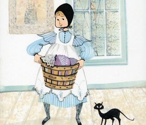 Art-Artist-PBuckleyMoss-CanadaGooseGallery-WaynesvilleOhio-LimitedEdition-Print-HomeDecor-Decorating-LaundryRoom-BlackCat-Basket-Girl-Child