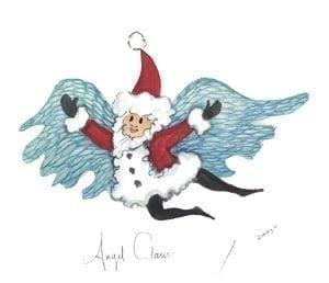 Art-Artist-PBuckleyMoss-CanadaGooseGallery-WaynesvilleOhio-LimitedEdition-Print-HomeDecor-Decorating-KrisKringle-Angel, SantaClaus-Christmas-Angel