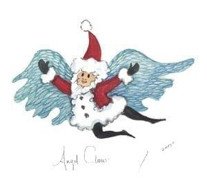Art-Artist-PBuckleyMoss-CanadaGooseGallery-WaynesvilleOhio-LimitedEdition-Print-HomeDecor-Decorating-KrisKringle-Angel, SantaClaus-Christmas-Angel