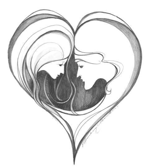 As one limited edition print by P Buckley Moss shows her deep feeling for love and family commitment. Heart shaped image with couple facing. Black and white delicate lined sketch art. Beautifully detailed profiles with such few lines. Suitable fo expression of love and values in a relationship.