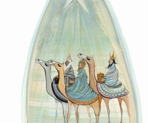 A Star to Guide Them limited edition by P Buckley Moss features the three Wise Men and bringing gifts to the Christ Child. Green and earth tones.
