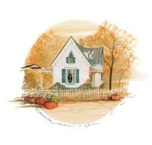 Autumn at home limited edition print by P Buckley moss features a Fall scene with orange, tan, green and white.